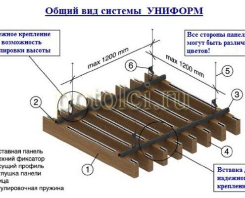 Схема кубообразного реечного потолка Униформ БАРД