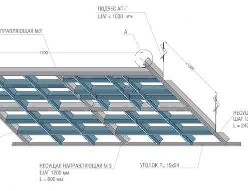 Потолок Грильято Пирамидальный Албес