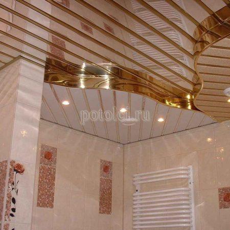 Реечный потолок в ванную Cesal