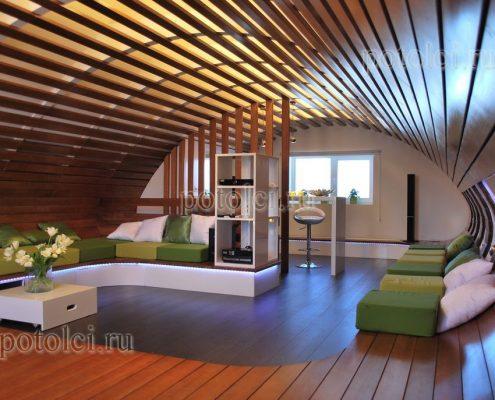Деревянные реечные потолки Люксалон