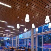 Деревянные реечные потолки Люксалон с накладными светильниками