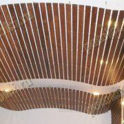 Подвесной реечный потолок из дерева породы Мербау. Частный проект