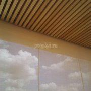 Деревянный реечный потолок Грид из массива Кото