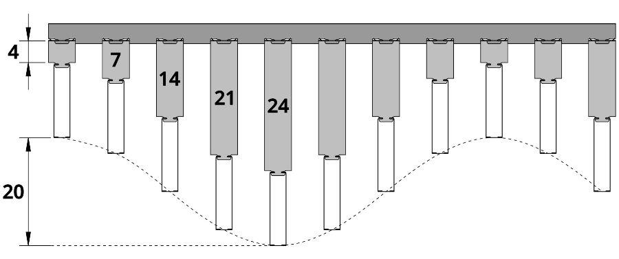 Схема сборки волнообразного потолка Униформ БАРД с удлинителем