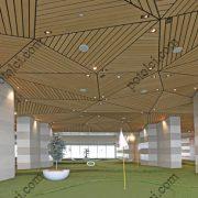 Деревянные реечные потолки Люксалон 3D