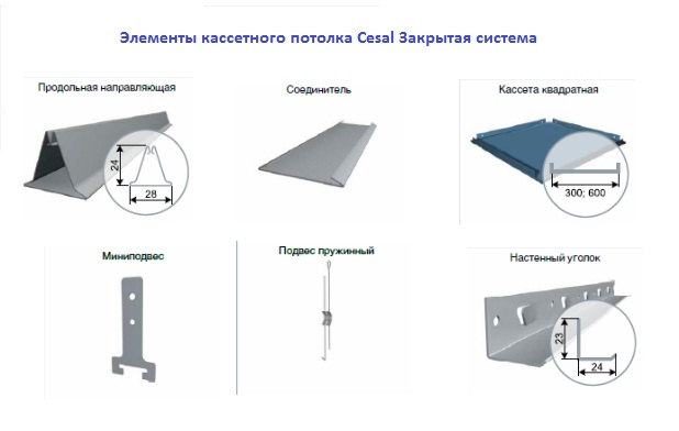 Кассетные потолки CESAL Закрытая подвесная система