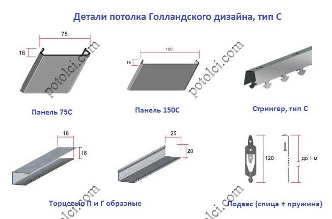 Реечные потолки Ceiling тип С
