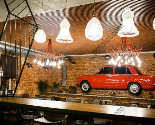 Реечный потолок Комби БАРД в ресторане